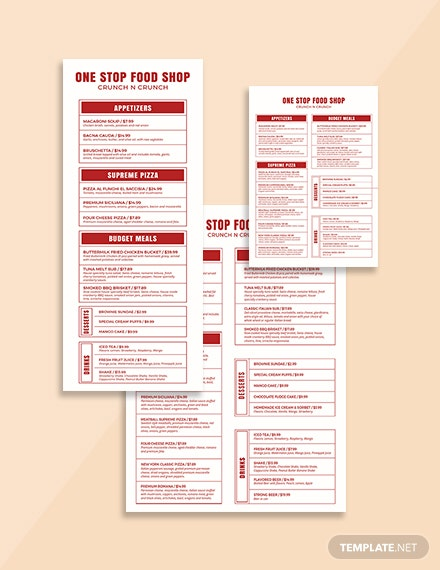 Food and Beverage Menu Template