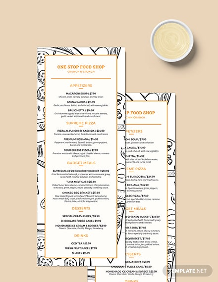 Sample Classic Food and Drinks Menu