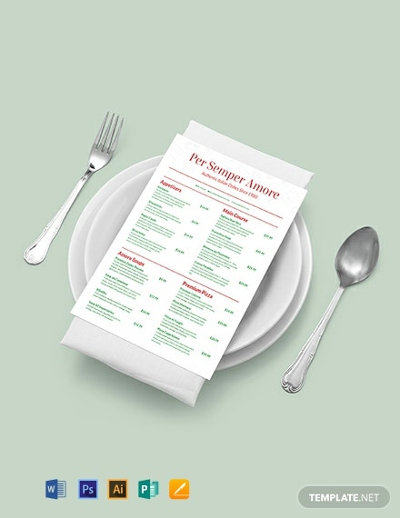 Italian Menu Template - Word | PSD | Apple Pages | Publisher ...