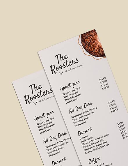 Sample Restaurant Menu Card