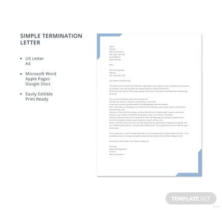Free Simple Termination Letter Template