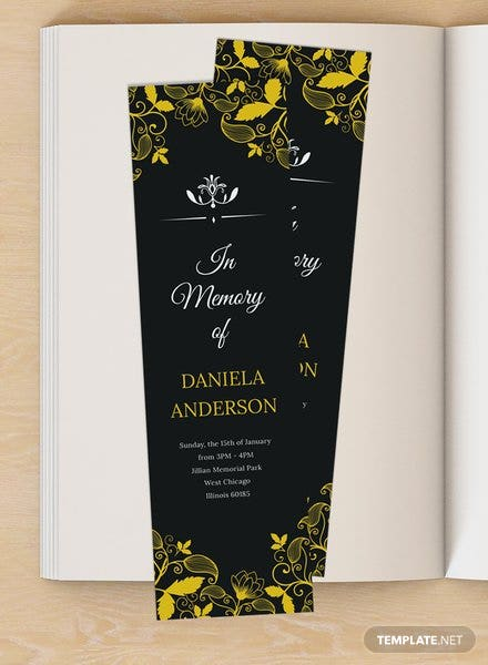 Free memorial bookmark template download 13 bookmarks in for Free memorial bookmark template download