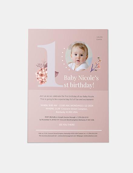 Sample First Birthday Invitation