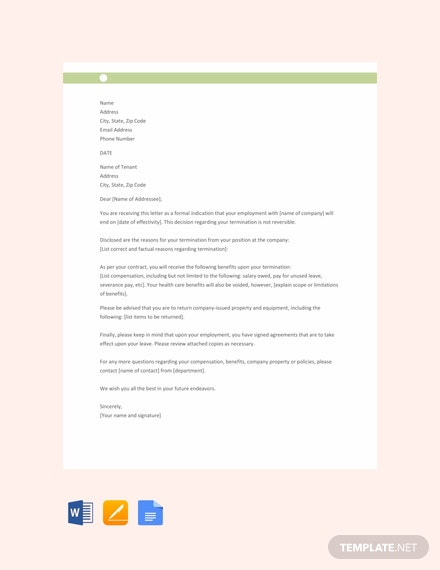 Free Termination Notice Letter Template