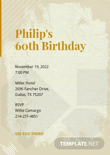 60th Birthday Invitation Card Template
