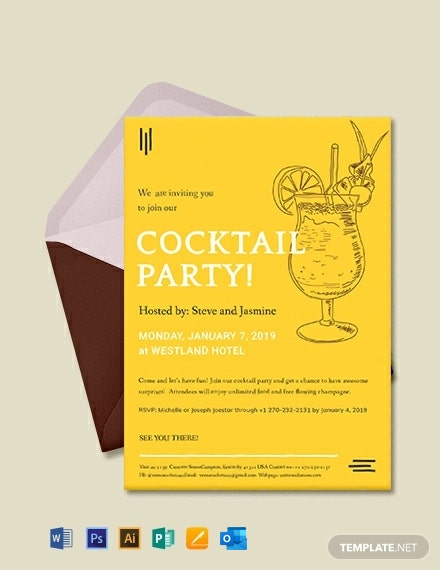 Free Simple Cocktail Party Invitation Template