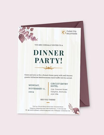 Formal Dinner Invitation Download