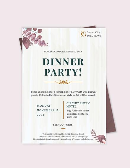 Sample Formal Dinner Invitation