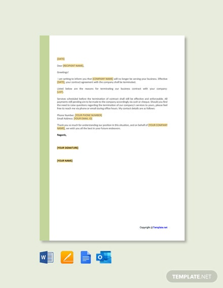 Free Termination of Services Letter Template to Client