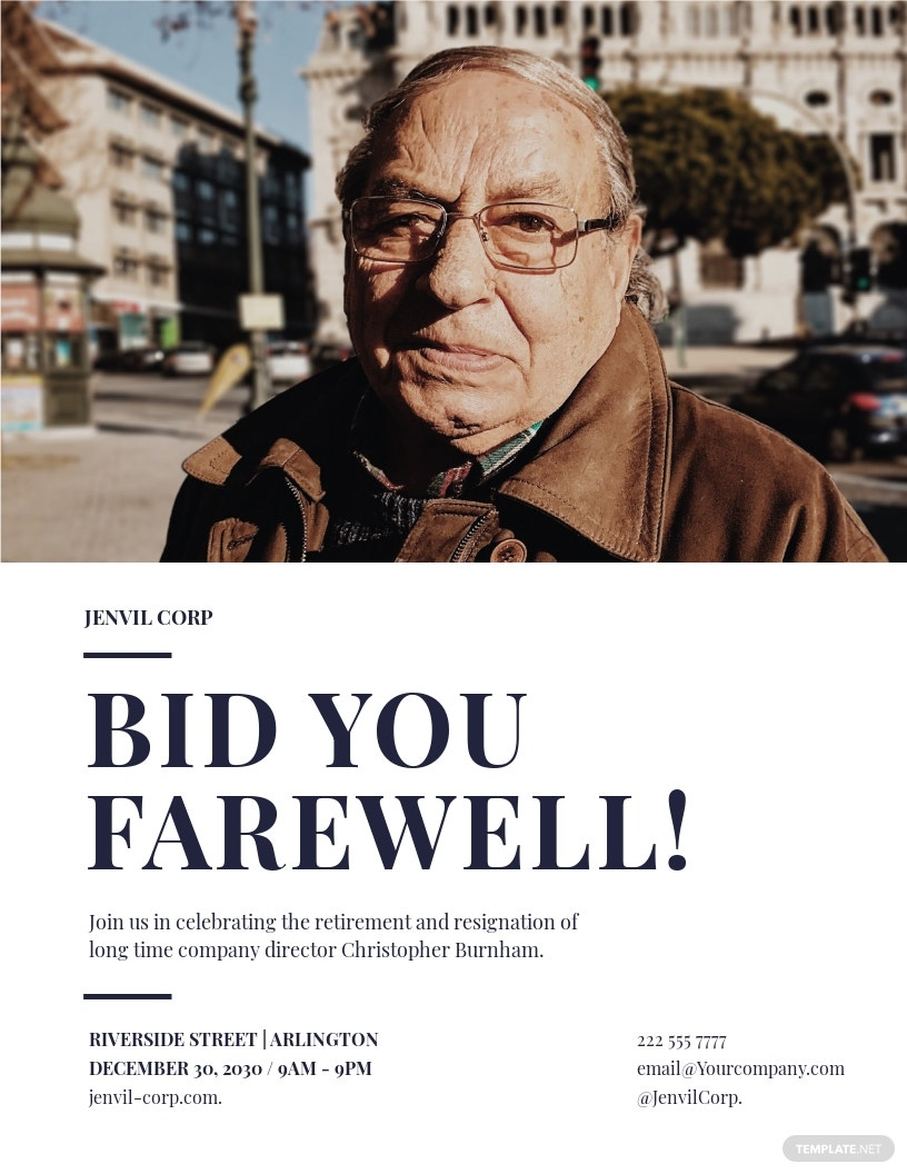 Farewell Flyer Template [Free JPG] - Google Docs, Illustrator, InDesign, Word, Apple Pages, PSD, Publisher
