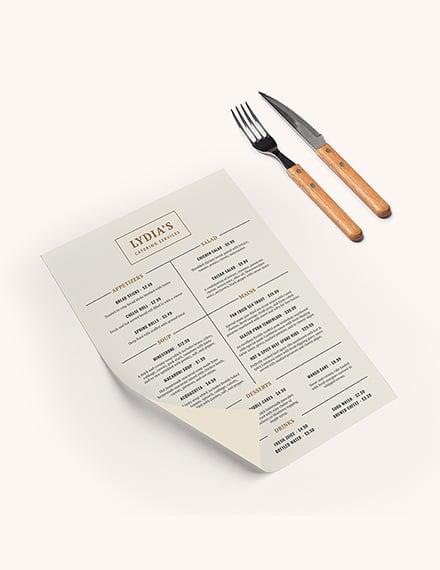 Catering Menu Download