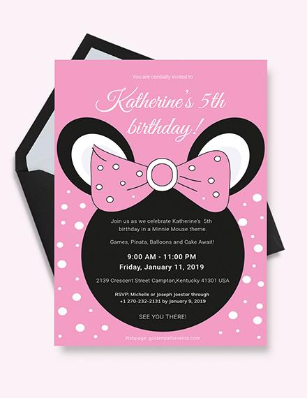 Minnie Mouse Birthday Invitation Template Download 109 Invitations
