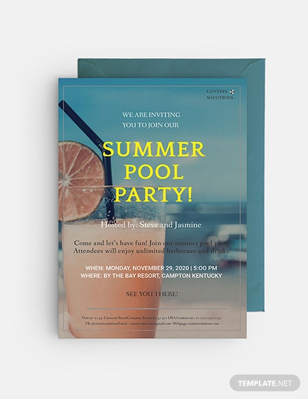 Sample Summer Pool Party Invitation