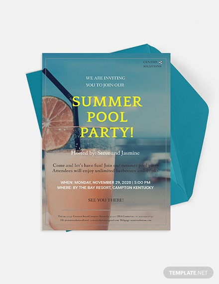 Summer Pool Party Invitation Download