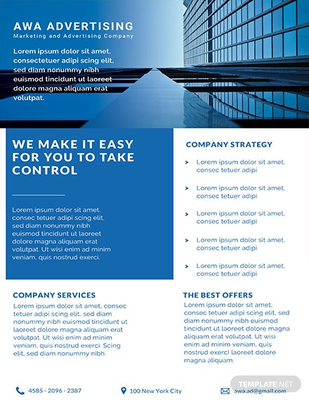 Free Advertising Company Datasheet Template