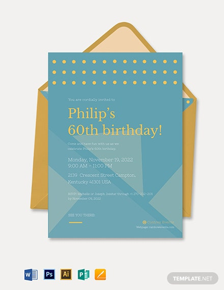Simple 60th Birthday Invitation Card Template Word Psd