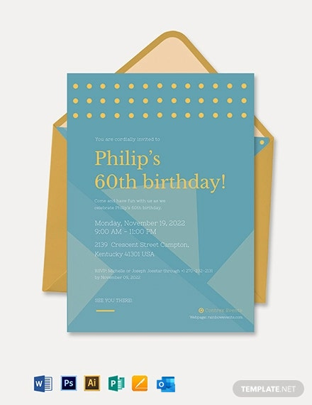 Simple th Birthday Invitation Card Template