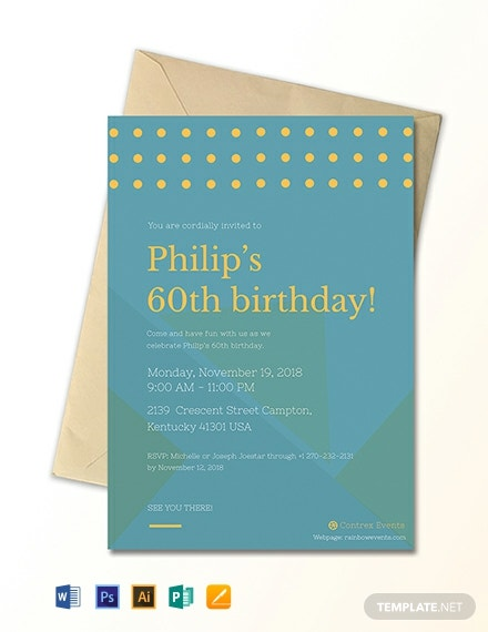 Simple 60th Birthday Invitation Card Template