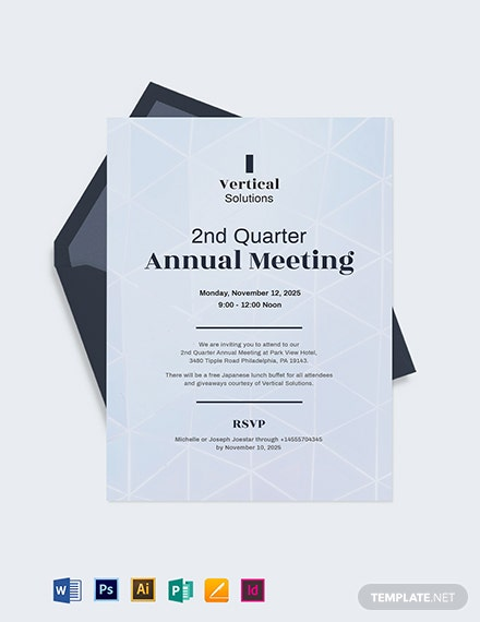 FREE Business Meeting Invitation Template Word PSD