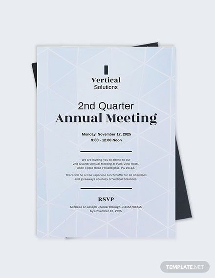 Sample Annual Meeting Invitation Card