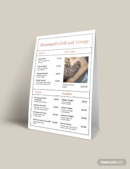 Sample Simple French Menu