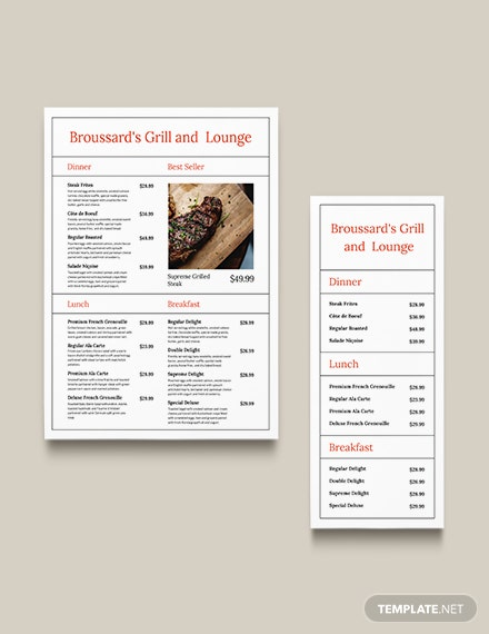 Simple French Menu Download