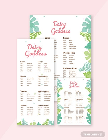 Creative Ice Cream Menu Template