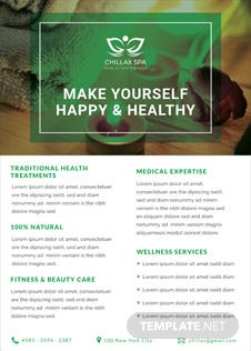 Free Health Spa Datasheet Template