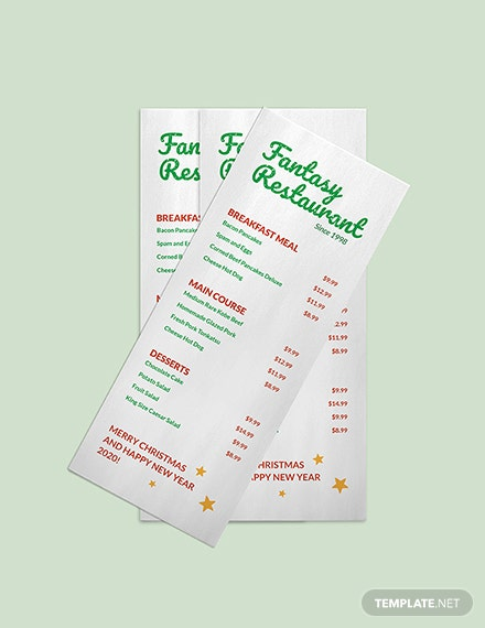 Restaurant Holiday Menu Download