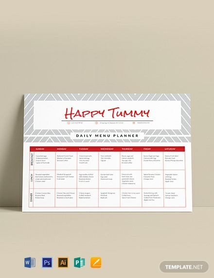 Daily Menu Template