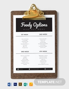 Monthly Menu Planner Template