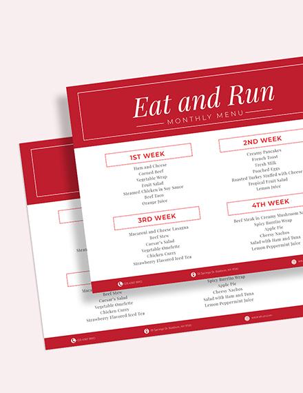 Sample Simple Monthly Menu Planner