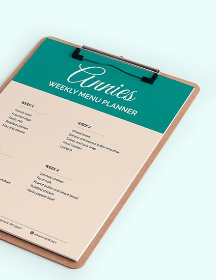 Vintage Monthly Menu Planner Download
