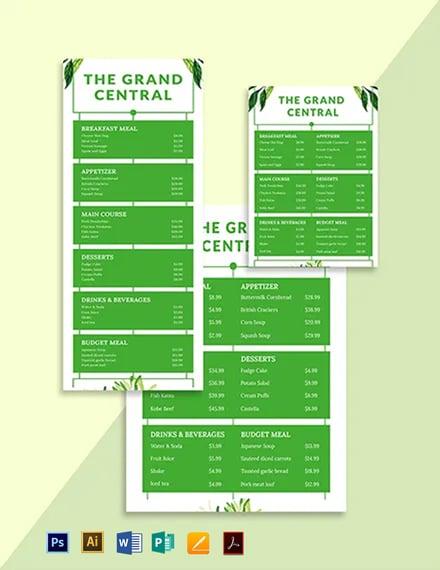 Organic Menu Board Template