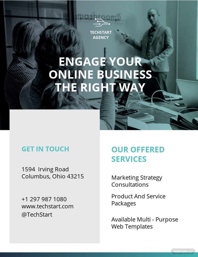 Company Flyer Template [Free JPG] - Google Docs, Illustrator, InDesign, Word, Apple Pages, PSD, Publisher