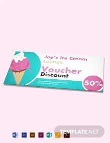 Free Ice Cream Shop Discount Voucher Template