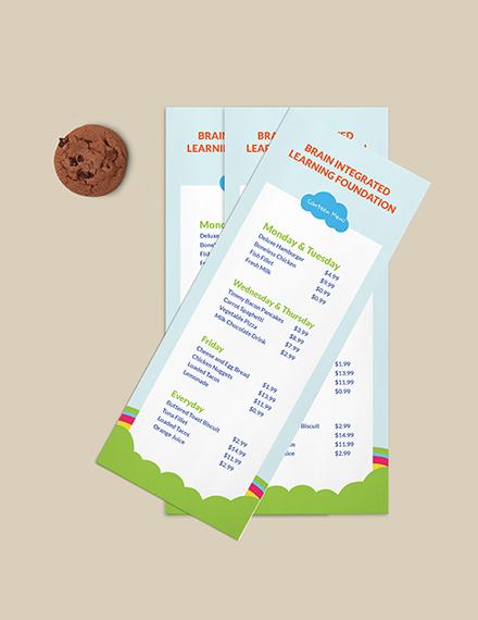 Preschool Canteen Menu Download