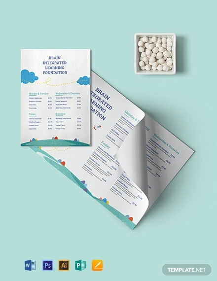 Preschool Food Menu Template