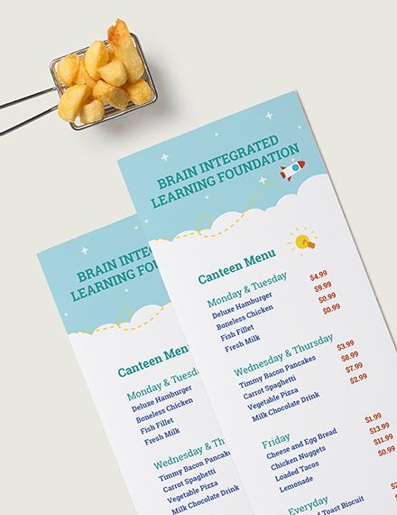 Sample Simple Preschool Menu
