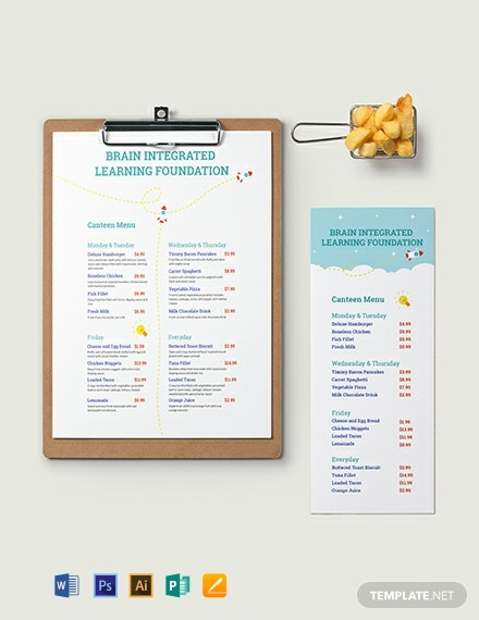 Simple Preschool Menu Template