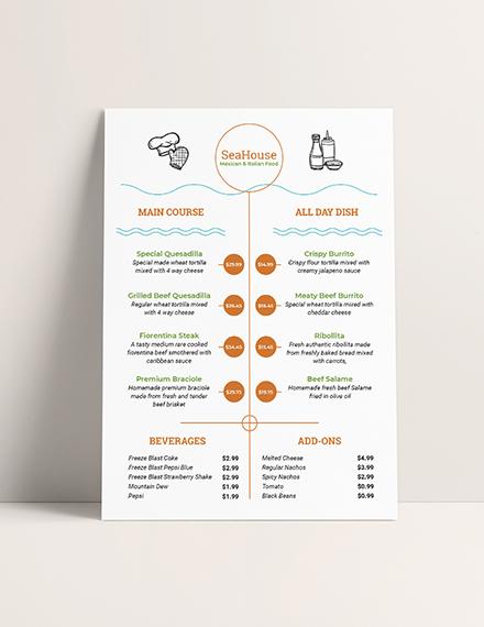 Sample Food Price Menu