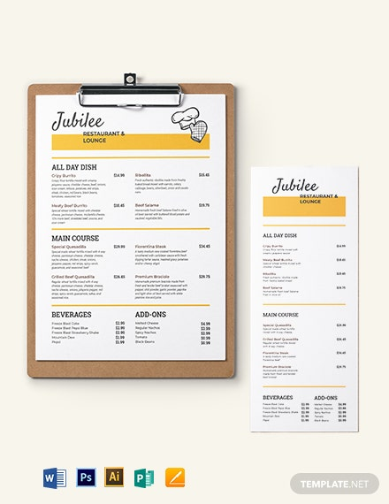 Price Menu Template