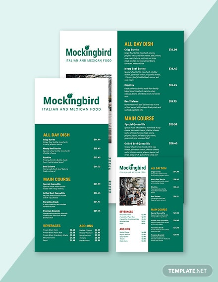 Modern Price Menu Template