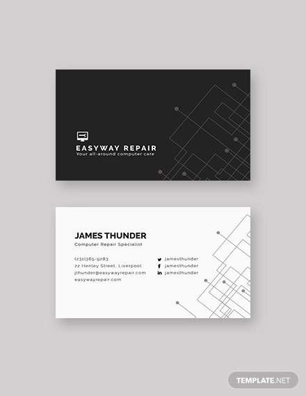 Sample Computer Repair Business Card
