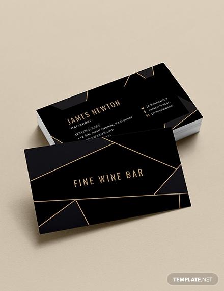 Creative Bartender Business Card Template