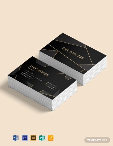 Creative Bartender Business Card Template