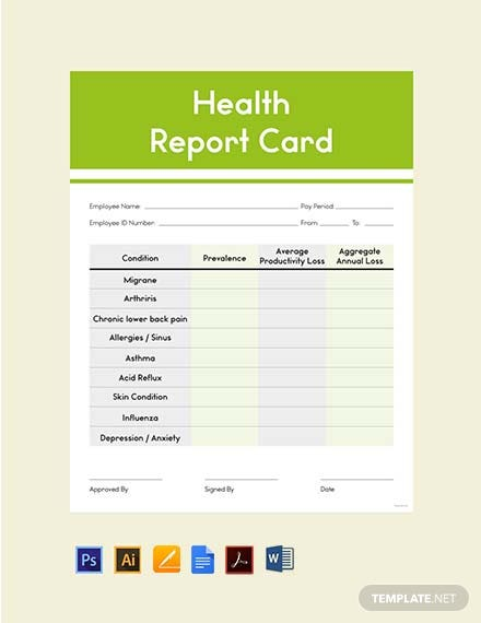 health report card template