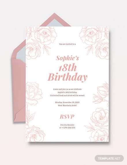 Free 18th Birthday Invitation Template Download 518 Invitations In