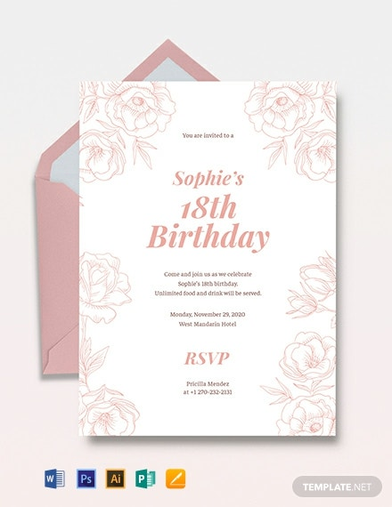 18th Birthday Invitation Template ...
