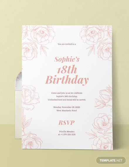 Free 18th Birthday Invitation Template Download 344 Invitations In